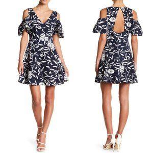 J.O.A. Patterned Cold Shoulder Dress Floral Navy